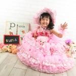 大阪の七五三写真撮影スタジオ・ハニーアンドクランチの7歳女の子ドレス・洋装のフォトギャラリーE156