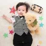 大阪の初節句・ハーフバースディ写真撮影スタジオ・ハニーアンドクランチの洋装のフォトギャラリーH158