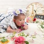 大阪の初節句・ハーフバースディ写真撮影スタジオ・ハニーアンドクランチの洋装のフォトギャラリーH201