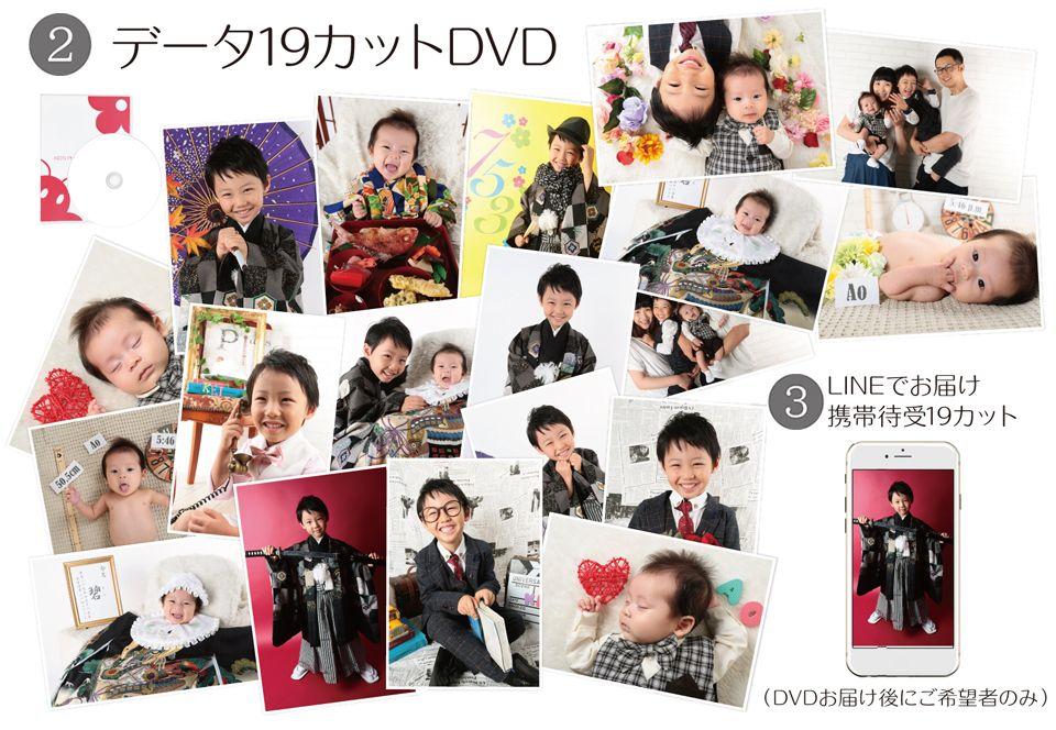 大阪で七五三写真撮影ならハニーアンドクランチの四面台紙キャンペーンの19カットデータ