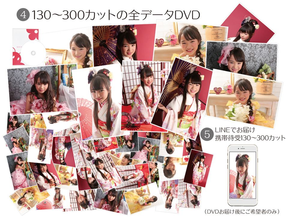 大阪で七五三写真撮影ならハニーアンドクランチの七五三フルセットキャンペーンの全データ画像